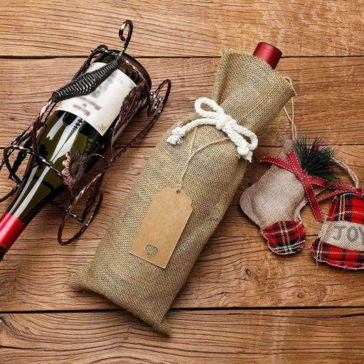 Decoración Bolsa de yute y arpillera para botella de vino