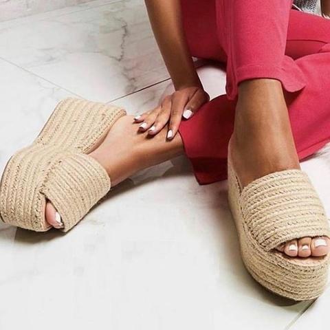 sandalias plataformas de yute arpillera